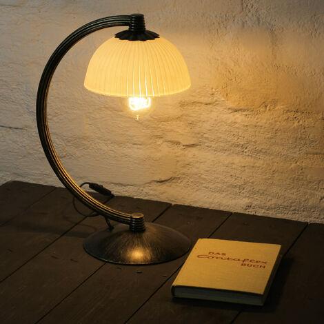 Tischlampe BARON Braun Gold Creme H:38cm Landhaus