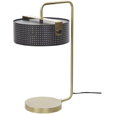 Tischlampe Gold / Schwarz Metall 50 cm Langes Kabel mit Schalter Industrie DesignWohnzimmer