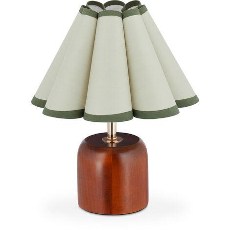 Tischlampe im Retro Design, H x D: 30 x 26 cm, E27-Fassung, Holzfuß, Stoffschirm, Nachttischlampe, braun-grün