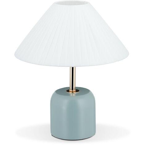 Tischlampe im Retro Design, H x D: 30 x 26 cm, E27-Fassung, Holzfuß, Stoffschirm, Nachttischlampe, weiß-blau
