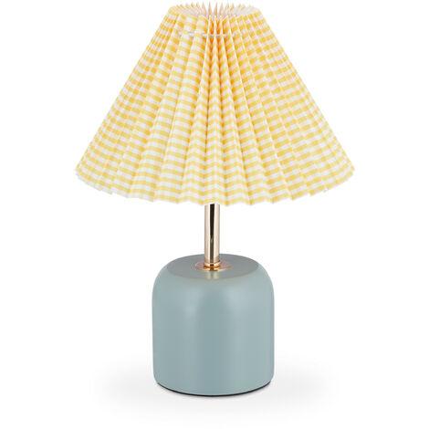 Tischlampe im Retro Design, H x D: 32 x 24 cm, E27-Fassung, Holzfuß, Stoffschirm, Nachttischlampe, gelb-blau