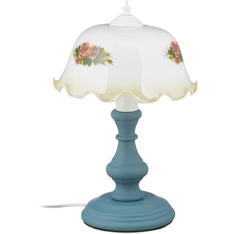 Tischlampe, Vintage Blumenmuster, Landhaus Stil, E27, Nachttischlampe, HxD: 43x28 cm, Holz, Glas, weiß/grau