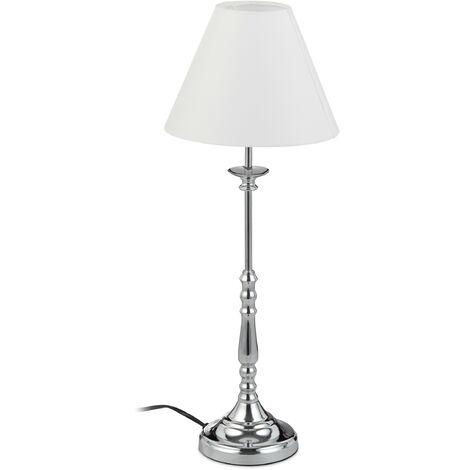 Tischlampe Vintage, Stoff Lampenschirm, spiegelnd verchromt, Dekolampe, E14, H x D 55 x 21 cm, silber/weiß