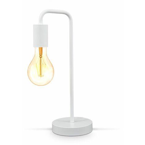 Tischlampe Vintage Tischleuchte Retro Leselampe Wohnraum Flur Edison E27 weiß