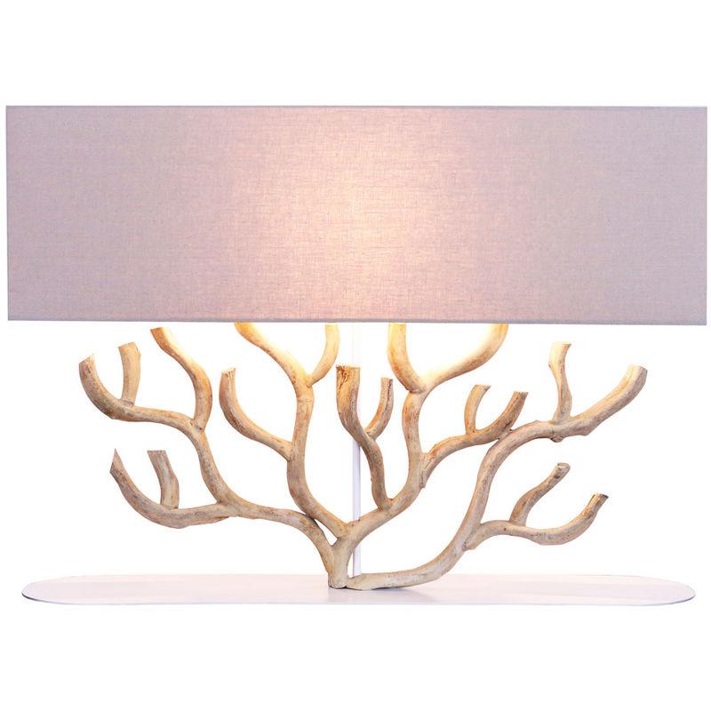 Kiom - Tischleuchte Matamoros XL beige & Holz gebleicht 80x59cm 10930