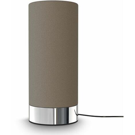 Tischleuchte Stoff Touchlampe dimmbar Nachttisch Schreibtisch Wohnzimmer taupe