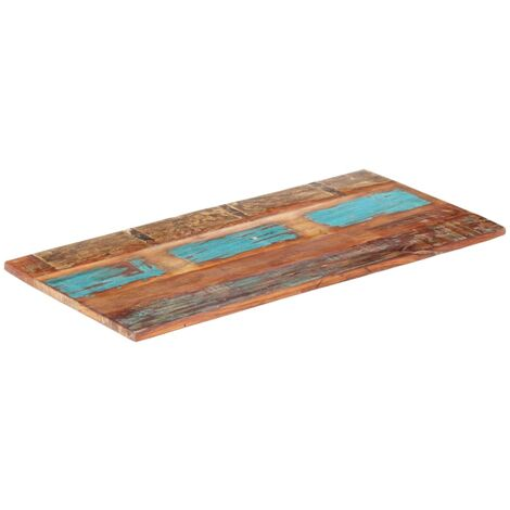Tischplatte Rechteckig 60x140cm 25-27mm Recyceltes Massivholz