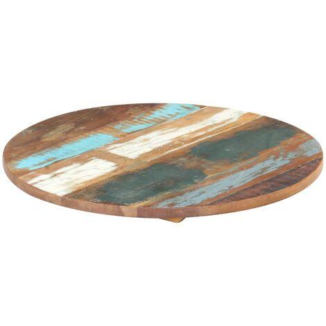 Tischplatte Rund 50 cm 25-27 mm Recyceltes Massivholz