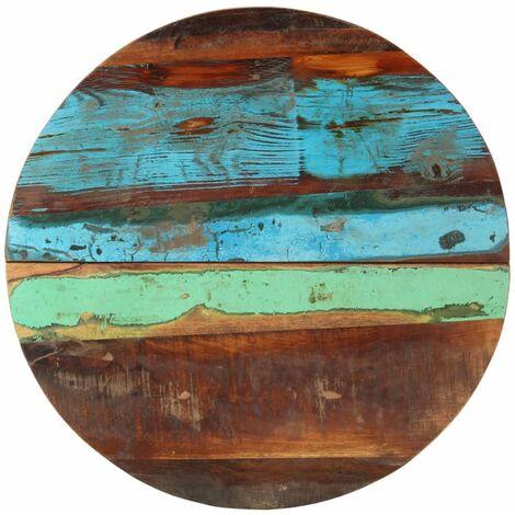 Tischplatte Rund 60 cm 25-27 mm Recyceltes Massivholz