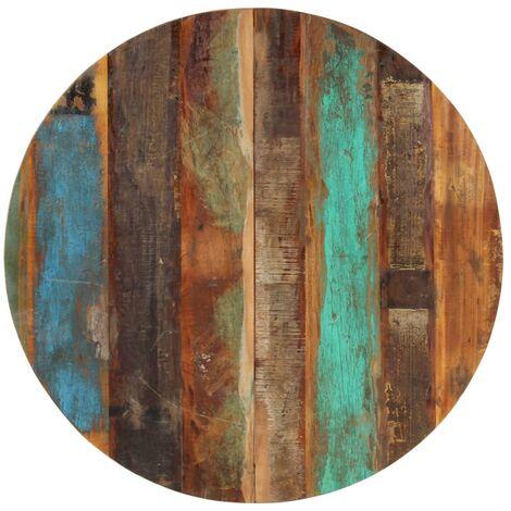 Tischplatte Rund 80 cm 15-16 mm Recyceltes Massivholz