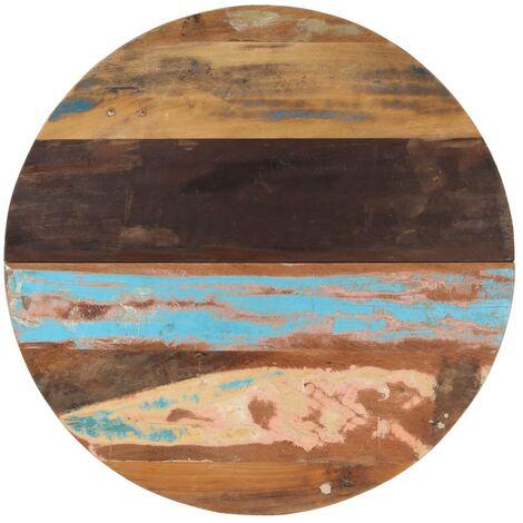 Tischplatte Rund 80 cm 25-27 mm Recyceltes Massivholz