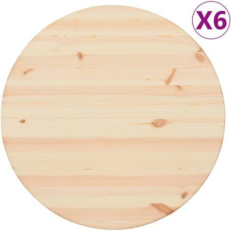 Tischplatten Natürliches Kiefernholz 6 Stk. Rund 25 mm 60 cm