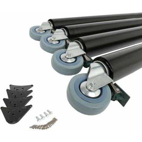 Tischstützen 4er Set auf Rollen mit Bremse Möbelbeine aus Stahl Höhe 710mm