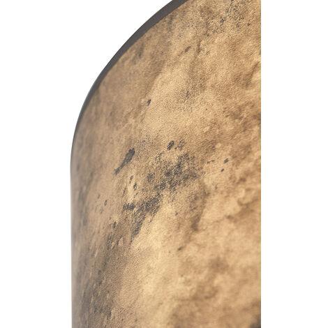 Tissu Abat-jour bronze 35/35/20 avec intérieur doré Qazqa Cylindre / rond - 97540