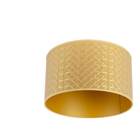 Tissu Abat-jour Design triangle or 35/35/20 Qazqa Retro Cylindre / rond