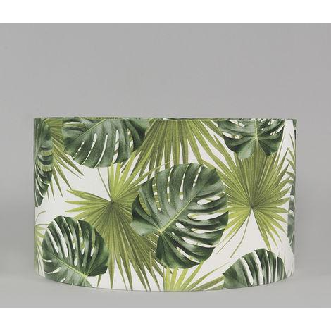 Tissu Abat-jour en coton 35/35/20 - Feuille Qazqa Moderne Rond - 94765