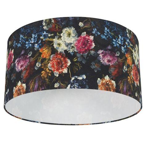 Tissu Abat-jour en coton 50/50/25 - Flora Qazqa Moderne Cylindre / rond