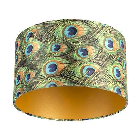 Tissu Abat-jour velours paon Design 35/35/20 avec intérieur doré Qazqa Cylindre / rond