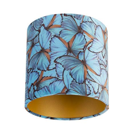 Tissu Abat-jour velours papillon Design 20/20/20 doré à l'intérieur Qazqa Cylindre / rond