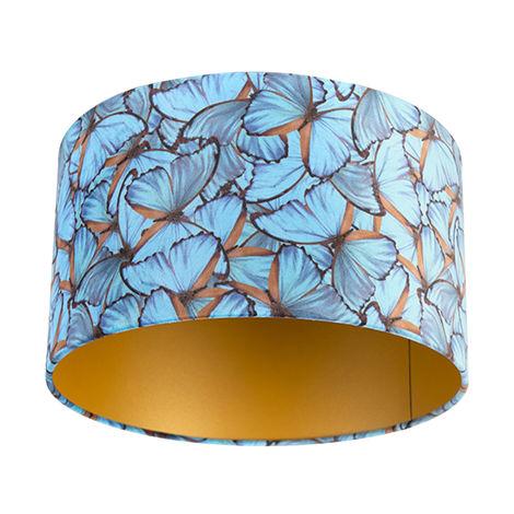Tissu Abat-jour velours papillon Design 35/35/20 doré à l'intérieur Qazqa Cylindre / rond