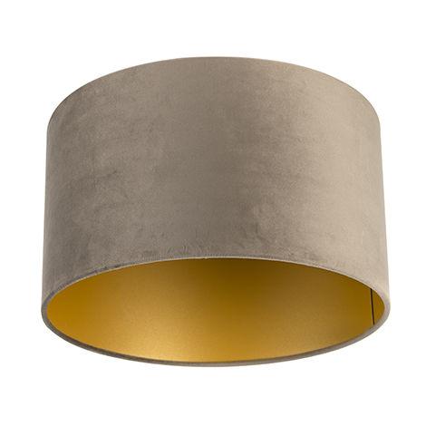 Tissu Abat-jour velours taupe 35/35/20 avec intérieur doré Qazqa Cylindre / rond
