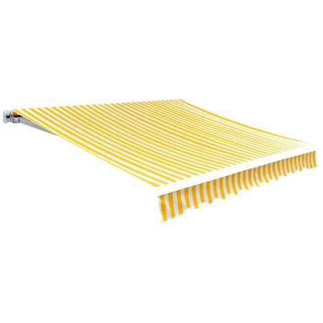 Tissu d'auvent Jaune tournesol/blanc 4x3 m (cadre non inclus)