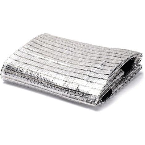 Tissu de Bloc UV perméable Filet de Protection Solaire extérieur Durable Filet de Papier d'aluminium réfléchissant 75% taux d'ombrage Balcon Jardinage de Toit (2X2m)