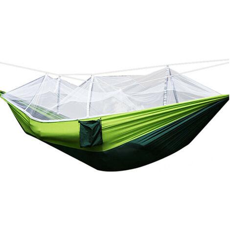 Tissu de parachute de hamac de camping double portatif de 661lb 300kg avec moustiquaire extérieur (vert clair, avec moustiquaire verte)