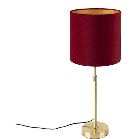 Tissu Lampe de table or / laiton avec abat-jour en velours rouge 25 cm - Parte Qazqa Classique/Antique Luminaire interieur Cylindre / rond
