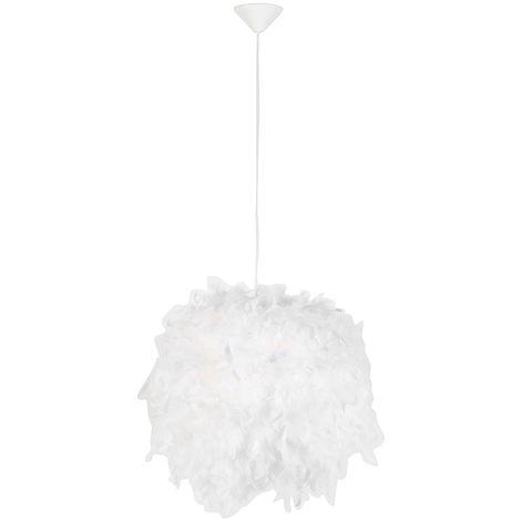 Tissu Lampe suspendue Country blanc - Plume Qazqa Rustique Luminaire interieur Rond