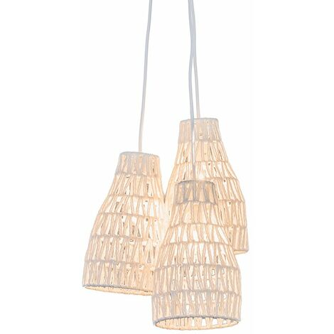 Tissu Lampe suspendue Retro blanche 50 cm Lina 3 Qazqa Design, Moderne, Retro Cage Lampe Luminaire interieur Rond