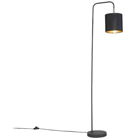 Tissu LED Lampadaire intelligent noir avec source lumineuse WiFi A60 - Lofty Qazqa Moderne Luminaire interieur Cylindre / rond