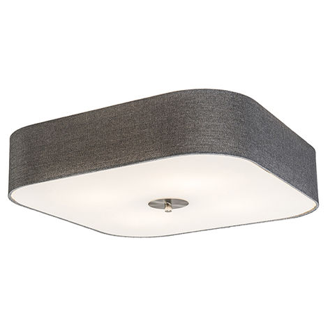 Tissu Plafonnier carré gris 50 cm - Tambour deluxe Jute Qazqa Rustique, Moderne Luminaire interieur Carré