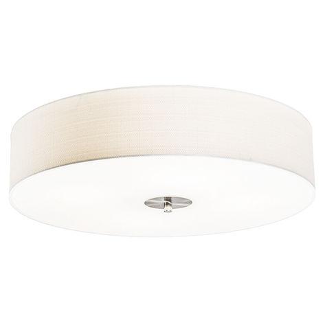 Tissu Plafonnier Country crème 50 cm - Drum Jute Qazqa Rustique, Moderne Luminaire interieur Rond