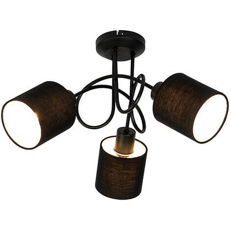 Tissu Spot de plafond noir 3 lumières - Hetta Qazqa Moderne Luminaire interieur Rond