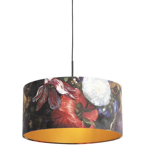 Tissu Suspension avec abat-jour velours fleurs doré 50 cm - Combi Qazqa Classique/Antique Luminaire interieur Cylindre / rond