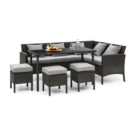 """main image of """"Titania Dining Lounge Set Gartengarnitur Essecke Tisch 3 Hocker 5 Kissen Polyrattan Schwarz / Hellgrau"""""""