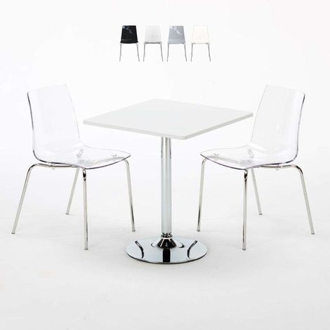 TITANIUM Set Made of a 70x70cm White Square Table and 2 Colourful LOLLIPOP Chairs