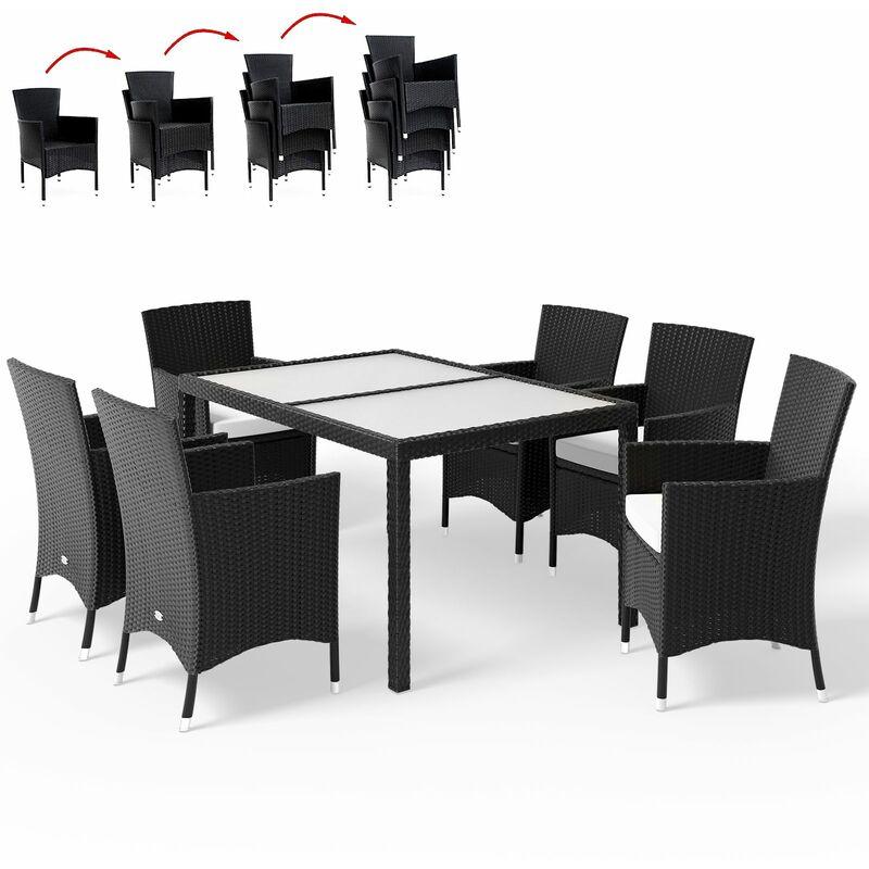 Casaria Poly Rattan 6+1 Sitzgruppe stapelbare Stühle 7cm dicke Sitzauflagen Gartentisch wetterfestes Polyrattan Schwarz - Gartenmöbel Sitzgarnitur