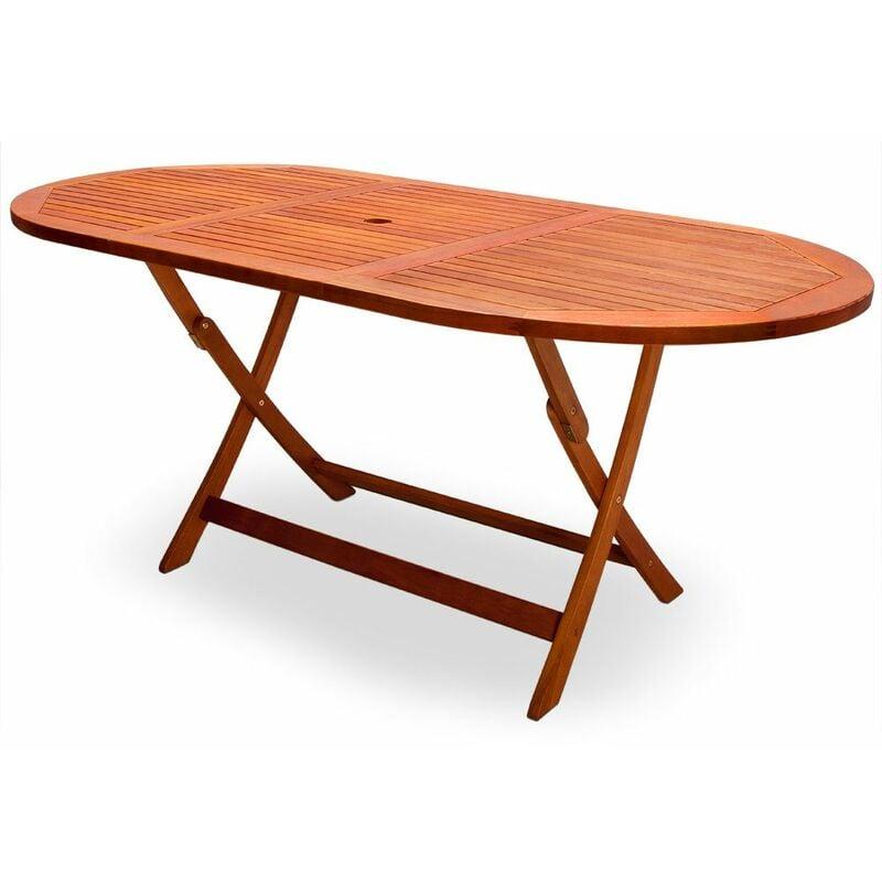 Gartentisch klappbar Akazienholz FSC® zertifiziert 160x85x75cm Schirmhalterung Klapptisch Esstisch Gartenmöbel Holz - Casaria