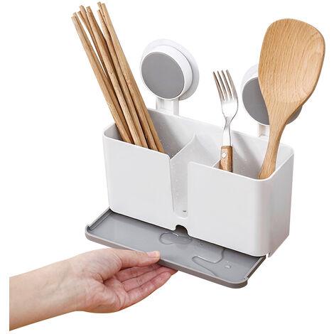 Titular adhesiva Cepillo de dientes con drenaje, estante de la cocina de pasta dental palillos Forks cucharas, blanca