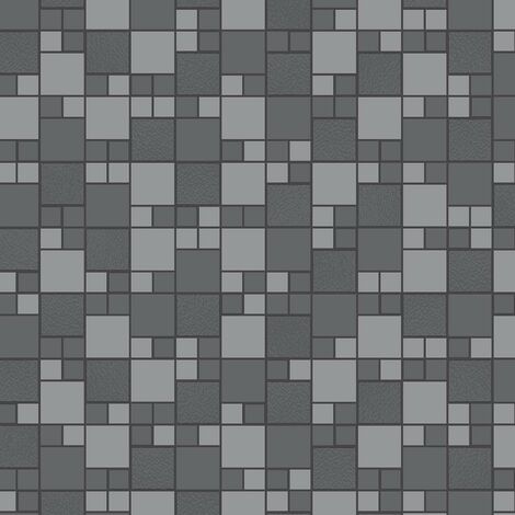 Tivola Tile Wallpaper Charcoal Silver Metallic Glitter Embossed Bathroom Kitchen