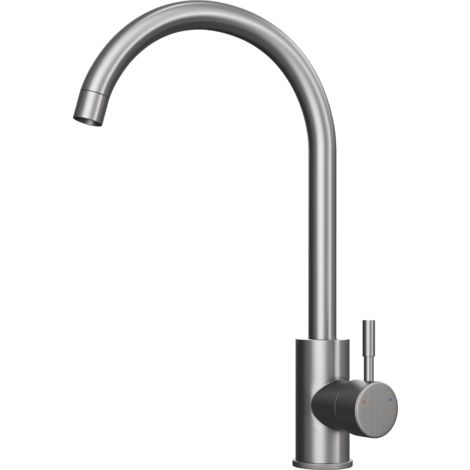 Tivoli Brushed Stainless Steel Kitchen Mixer Tap with Swivel Spout - Swan Neck