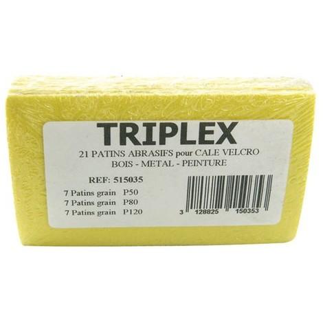 TIVOLY - Recharges patins pour cale à poncer - lot de 21 - grain 50 - 80 - 120
