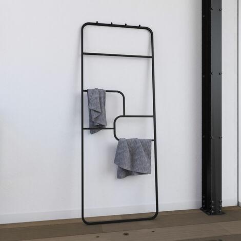 Toallero - 176x60x1,6 cm - Metal - negro mate - soporte - tipo taller - PUZZLE DARK DESIGN