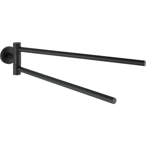 Toallero dos barras móviles de acero inoxidable Bosio negro mate Wenko