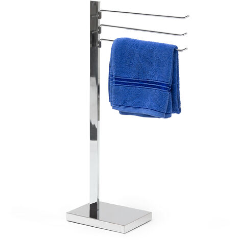 – Toallero con 3 brazos, acero cromado, 78 x 18 x 25 cm, base de plástico, antideslizante, cuarto de baño, 2.9 Kg, color plateado
