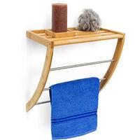 - Toallero con bandeja estante toallas baño bambú, 40 x 38 x 24.5 cm, 3 barras, madera, Color natural