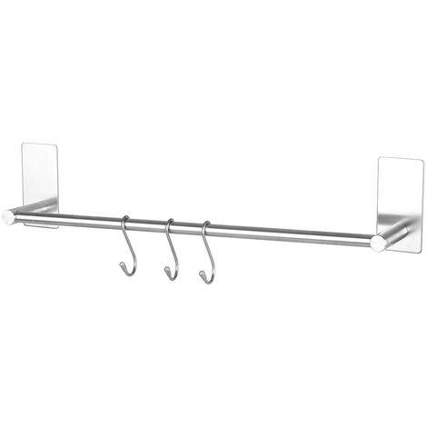 Toallero de acero inoxidable, estante de cocina, 55cm, plateado