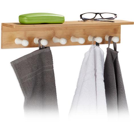 Toallero de bambú, medidas: 10 x 50 x 9 cm, toallero con 6 ganchos, madera, paño, natural